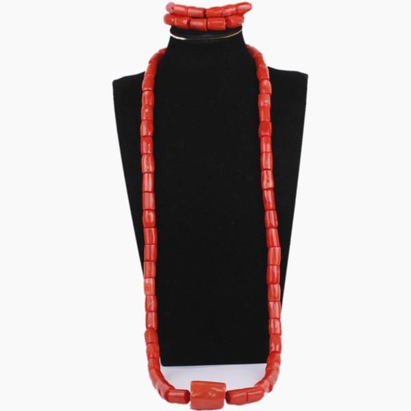 4UJewelry Wedding Necklace Set di perline Original Nigerian Men Coral Beads Set di gioielli Orange o Red Groom Set di gioielli Groom