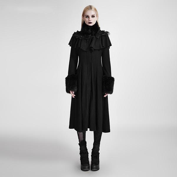 Steampunk Frauen langen Schal dekoriert Lolita Mäntel Gothic Frauen schwarz geheimnisvolle warme Wolle lange Mäntel