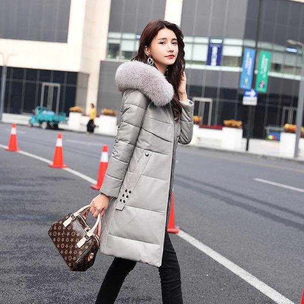 Genuine Leather Jacket Women Long Sheepskin Coat Fur Collar Korean Jackets Winter Coat Women Chaqueta Mujer K918D0052 YY988