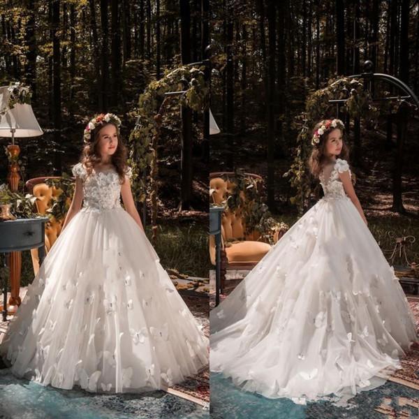 Occasion formelle papillon enfants TUTU fille fleur première communion Robes de bal Princesse robe de demoiselle d'honneur de mariage avec train
