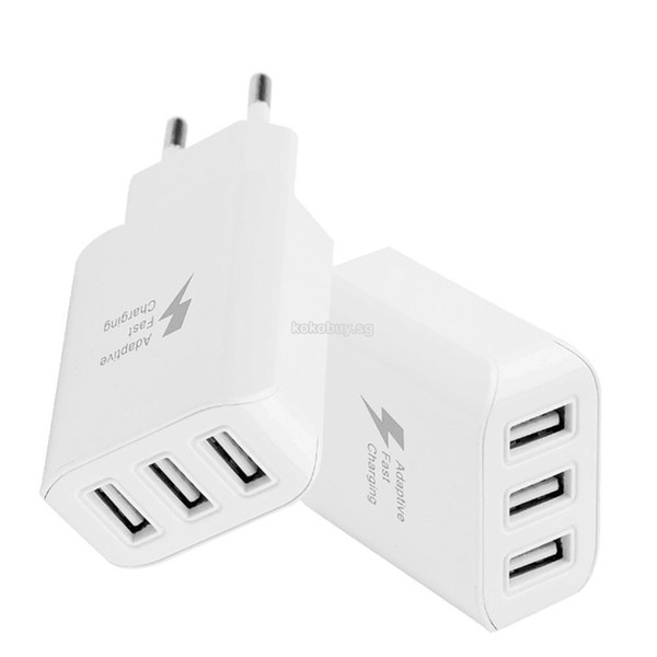 EU Plug 3 Ports USB Wall Charger Adapter For Mobile Phone