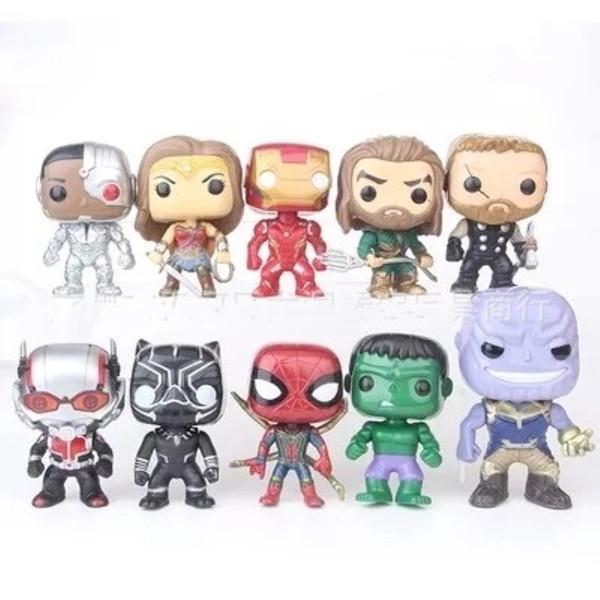 FUNKO POP 10pcs / set DC Justice Figurines Ligue Marvel Avengers Caractères Super Héros Modèle Capitaine Figurines Cadeaux pour enfants