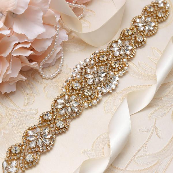 MissRDress Formal Wedding Dress Sash Gold Crystal Rhinestone Ribbons Women Belt For Wedding Event Prom Gown YS836