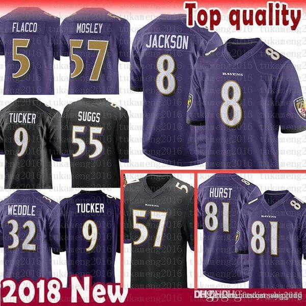 more photos b3494 a7b40 2019 8 Lamar Jackson 81 Hayden Hurst Baltimore Jersey Ravens 5 Joe Flacco 9  Justin Tucker Perriman 32 Eric Weddle 55 Suggs 57 C.J. Mosley Flacco From  ...