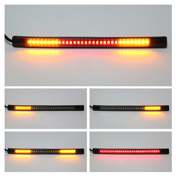 best selling New Motorcycle Light Bar Strip Tail Brake Stop Turn Signal License Plate Light Integrated 3528 SMD 48 LED Red Amber Color