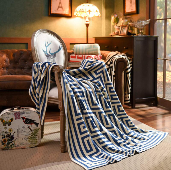 150*200cm back line Blanket geometry Printed Knitted Bedding Knit thick thread Swaddling Home Sofa Carpet air conditione Towel LJJA2475