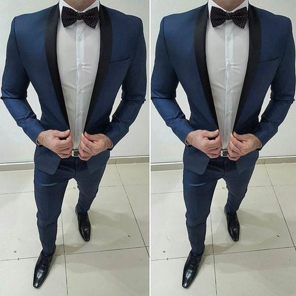 2019 Dark Bule Groom Tuxedos Shawl Lapel One Button Men Suits For Wedding Prom Best Man Blazer ( Jacket+Pants+Bow)