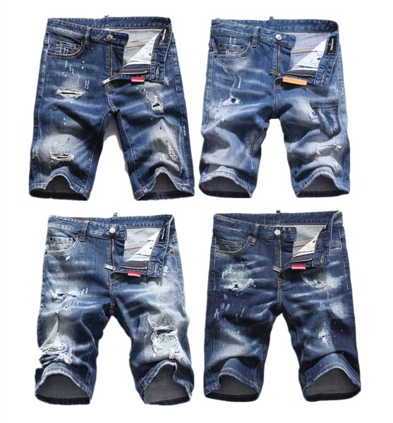 2019 New Arrival Top Quality D2 Men Denim Jeans Embroidery Shorts Pants Fashion Holes Trousers Italy Size 28-38 D70