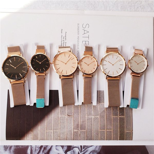 New Fashion Couple 40mm/32mm Girls Steel Strip DVV Lovers Watches Mens Watches Quartz Luxury Watch Clock Relogio Feminino Montre Femme