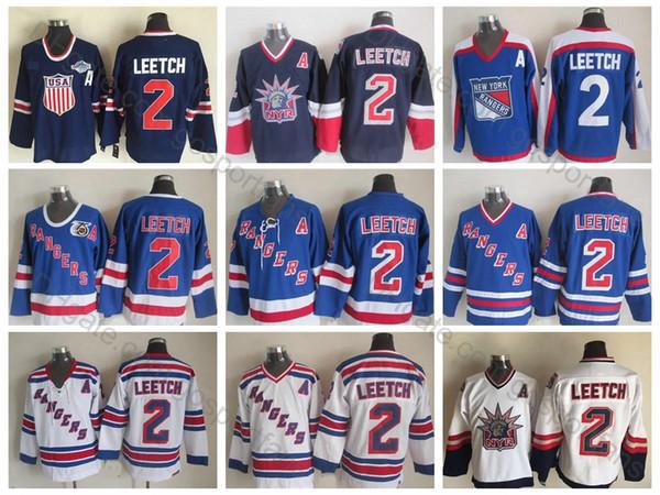 1998 Liberty Vintage # 2 Brian Leetch Jerseys 2004 EUA 75 # 2 New York Rangers Jersey de Hóquei de Brian Leetch Qualidade Superior Costurado Um Remendo