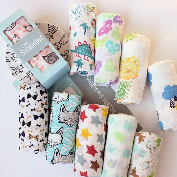 1pcs Double Layer 100% Muslin Cotton Blankets Patterns Multi-use Newborn Swaddle Muslin Infant Gauze Both Towel Baby Warp