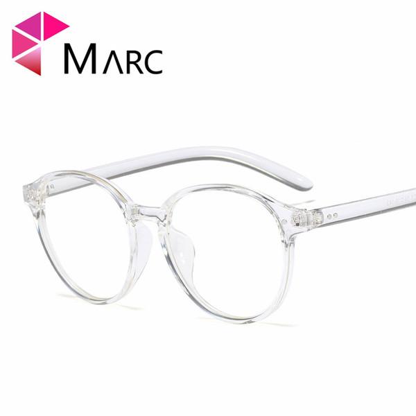 Occhiali da vista con montatura MARC lenti trasparenti da donna 2019 occhi da gatto occhiali da vista rotondi in plastica trasparente classico semplice blu rosa 95506 1