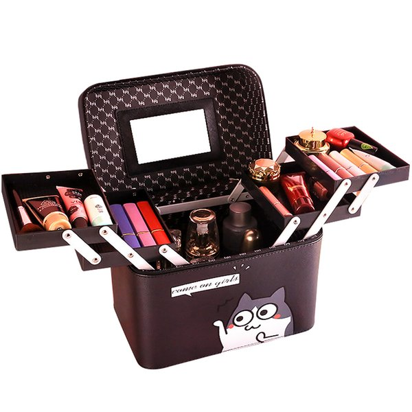 New Lovely Makeup Bag Women Cosmetic Bags&Case High Quality Leather Female Korean Makeup Box Large Capacity Travel Wash Bag Hot