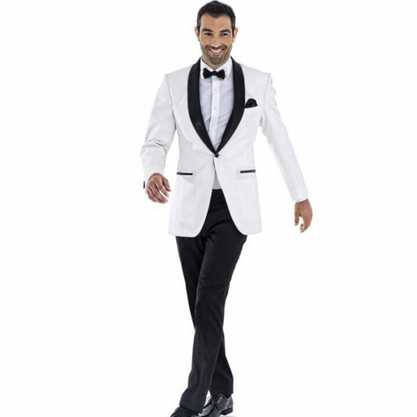 White 2 Piece Groom Tuxedos with Black Shawl Lapel Men's Wedding Groom Suits Groomsmen Suit Custom Italian Wedding Tuxedo for Man