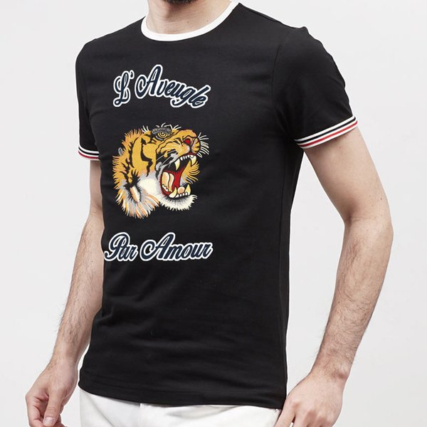 Yüksek kaliteli İtalya sokak polo gömlek Moda Marka medusa tişörtleri nakış Kaplan aplike ile Casual Pamuk polos mens