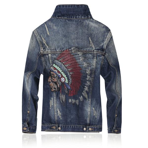 2019 Primavera Outono Mens Jaquetas Nova Marca Slim Fit Denim Vintage Patch Designs Jeans Jaqueta Homens Nostálgicos azuis Casacos Plus Size