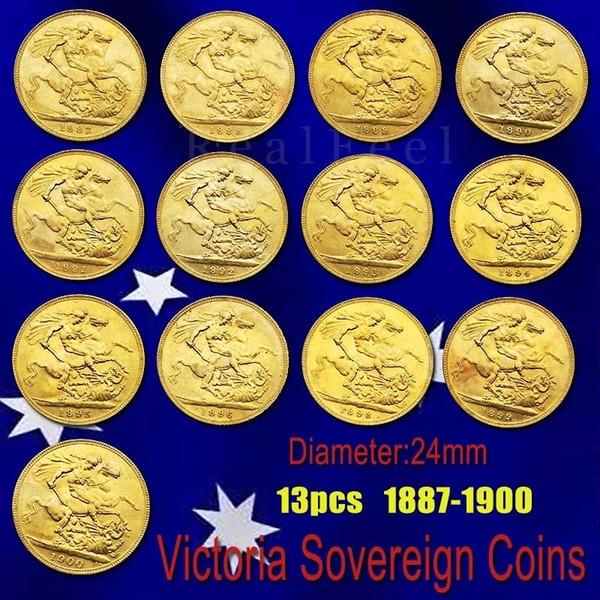13pcs 23mm İngiltere Egemen Tam Set Pirinç Altın Sikke Kaplama Queen Victoria Coin
