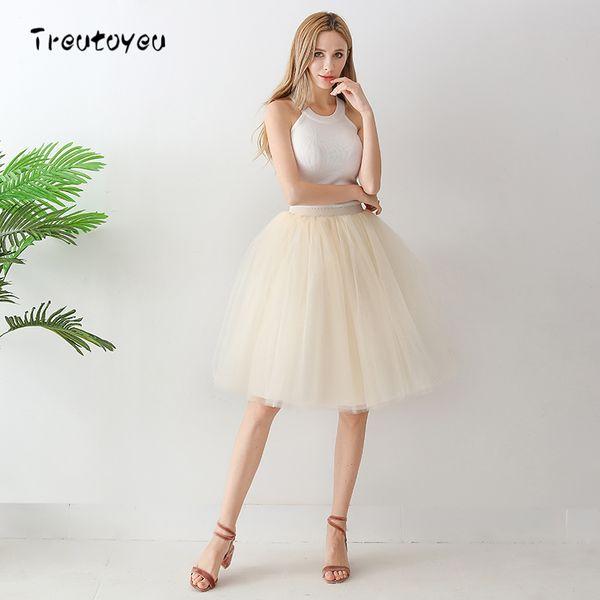 6 Layer Midi Tulle Skirt High Waist Champagne Tutu Skirts Womens Lolita Petticoat Elastic Belt Summer 2018 Faldas Saia Jupe Y19060301