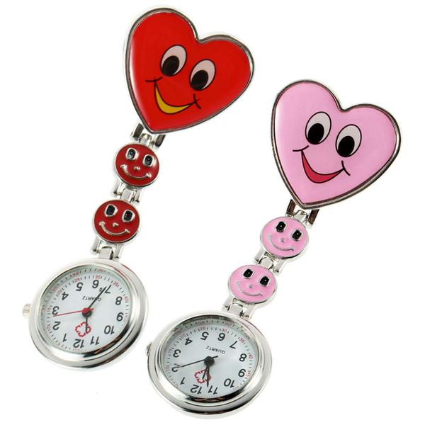 Heart Shape Fob Pocket Watch Pink Red Pin Brooch Cute Smile Face Nurse Quartz Clip-on for Nurse Salesgirl Waitress Teacher