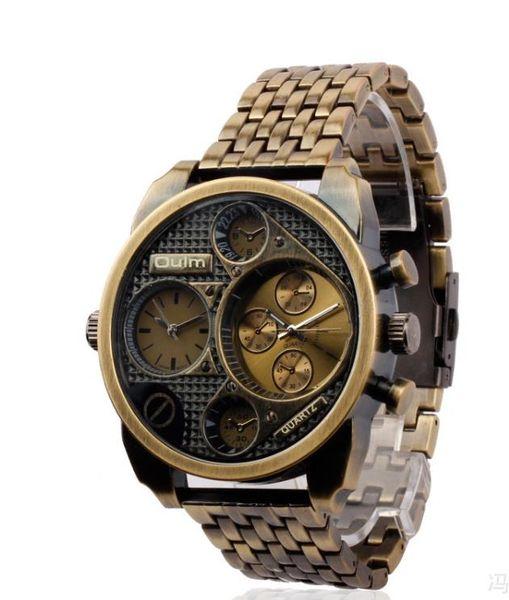 Ретро большой циферблат двойной часовой пояс горячий бренд класса люкс дизайнер высокого класса в европейском и американском стиле мужской календарь кварцевые стальные пояса часы