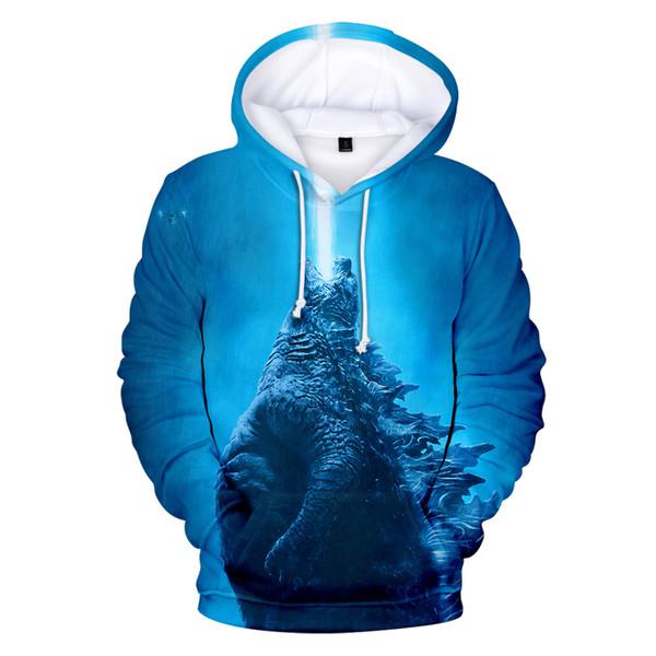 Godzilla2 King of Monsters New Men Kpop Slim Fashion Casual Hooded Sweatshirt 2019 New Trend Casual Street Clothing 4XL