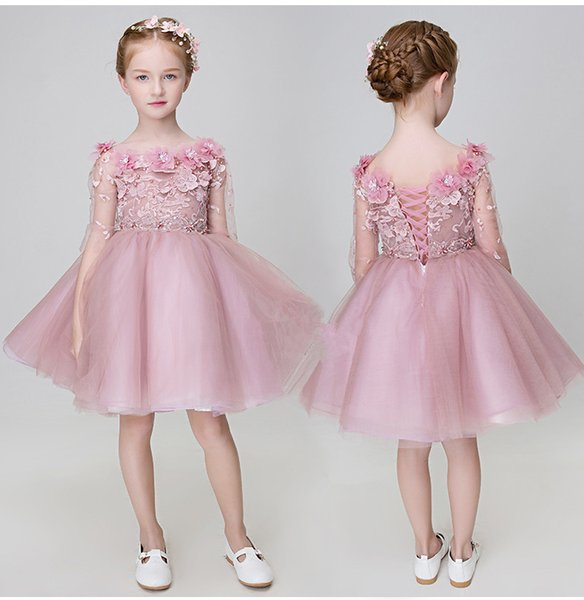 Cheap pink floral girl gown 2019 children's wedding gown flower lace ball gown first evening dresses