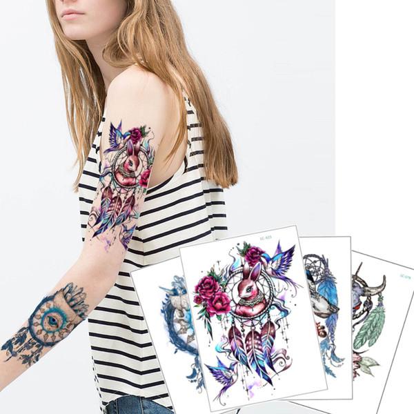 Colorful Dreamcatcher Temporary Tattoo Decal Eye Feather Bird Rabbit Skull Cow Design for Woman Man Body Art Arm Back Leg Tattoo Sticker DIY