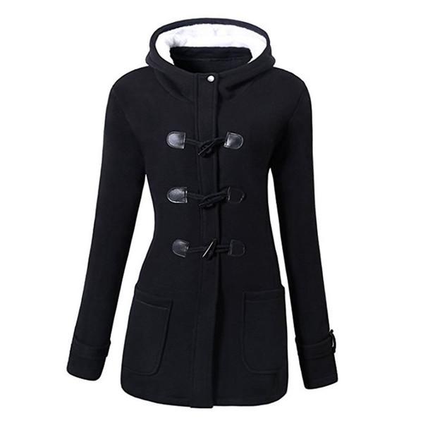 Casuais Plus Size Inverno Quente Preto Gothic Mulheres Casacos Magros Sobretudos Com Capuz Escritório Senhoras Com Zíper Bolso Feminino Outwears 2019