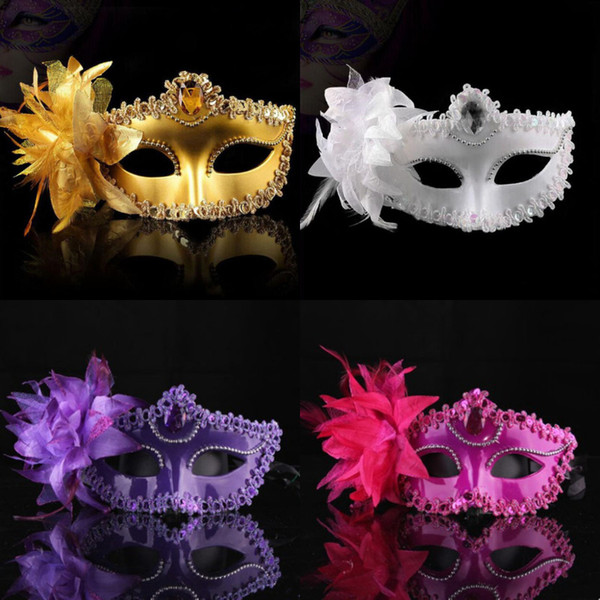 Fashion Women Sexy Hallowmas Venetian Eye mask Masquerade Ball Masks with Flower Feather For Wedding Birthday Dance Prom Party Dresses F8203