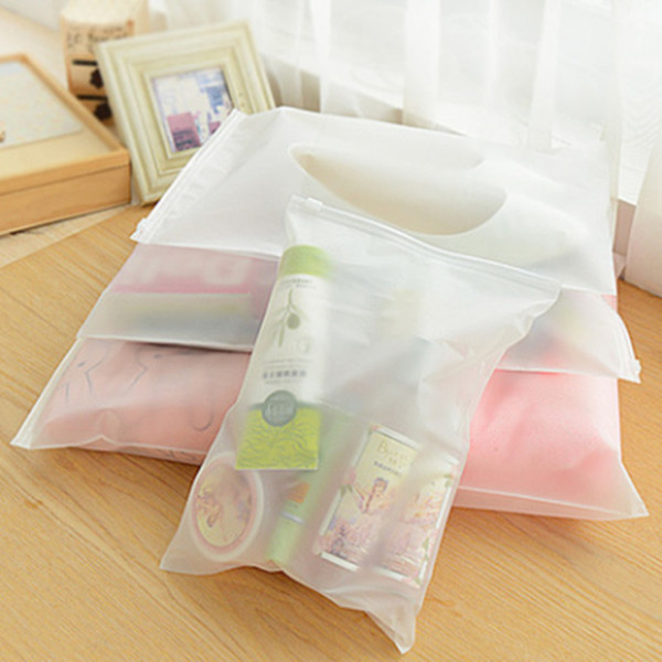 10pcs/lot Plastic Storage Bag Matte Clear Zipper Seal Travel Bags Zip Lock Valve Slide Seal Packing Pouch For Cosmetic Clothing C18112801