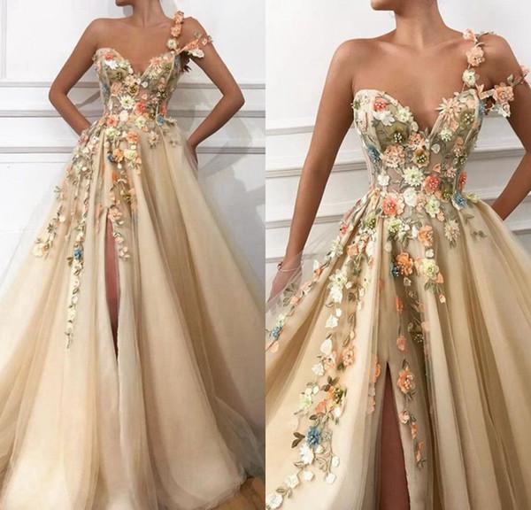 Uzun Abiye 2019 Muhteşem Bir Omuz Umman El Yapımı Çiçekler Suudi Arabistan Seksi Yüksek Yarık Şampanya Örgün Abiye giyim