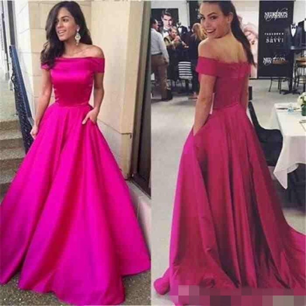 Off the Shoulder Long Fuchsia Satin Formal Evening Dresses with Pocket Sexy Ruched A Line Celebrity Prom Party Gowns Custom Made