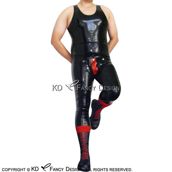 Schwarzes Mit Rotem Sexy Ärmellosem Latex-Catsuit Mit Codpiece Body Suit Body Zentai LTY-0265