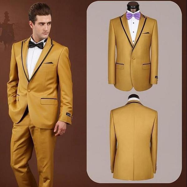 costumes pour hommes marié smokings Peak Lapel Meilleur Costume Homme Gold Groomsman hommes 2 pièces costumes de mariage