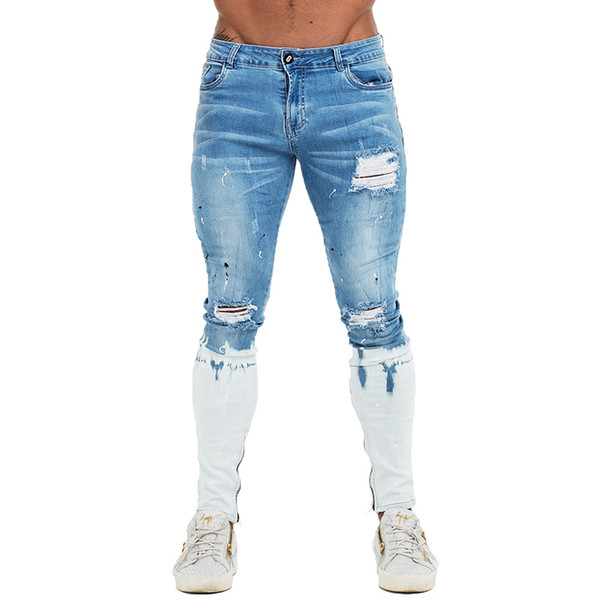 Gingtto Mens Skinny Jeans Blue Ripped Skinny Jeans Men Super Stretch Faded Color New Design Dropshipping Size 28/30/32/34/36 Y190603
