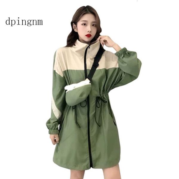 Women Long Sleeve Zipper Pockets Casual Sport Coat multi Color cut and sew windbreaker with Color block Coats SE0806 MX191101
