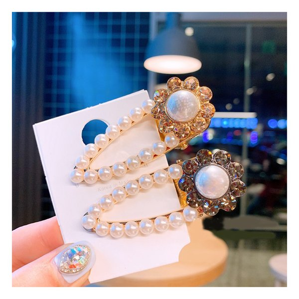 C letter two color Spring and summer fashion crystal flower pearl hollowed hair clip 100-fold duckbill clip hairpin hair accessory 4pcs/lot