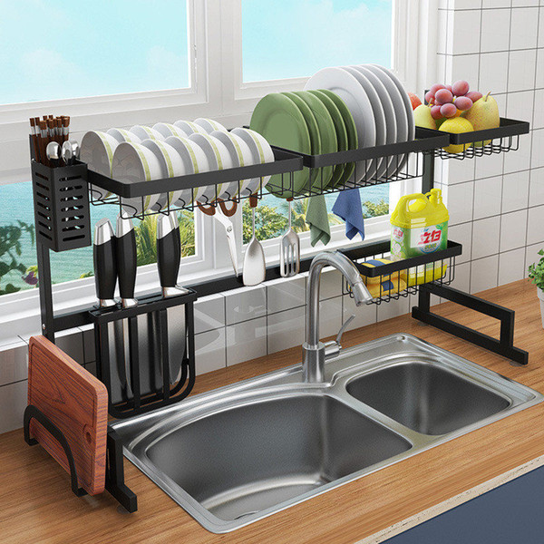2019 DIY Black Stainless Steel Sink Drain Rack Kitchen Shelf Two Story Sink  Racks Kitchen Organization Dish Rack Shelves 2 Sizes From Eshop2019, ...