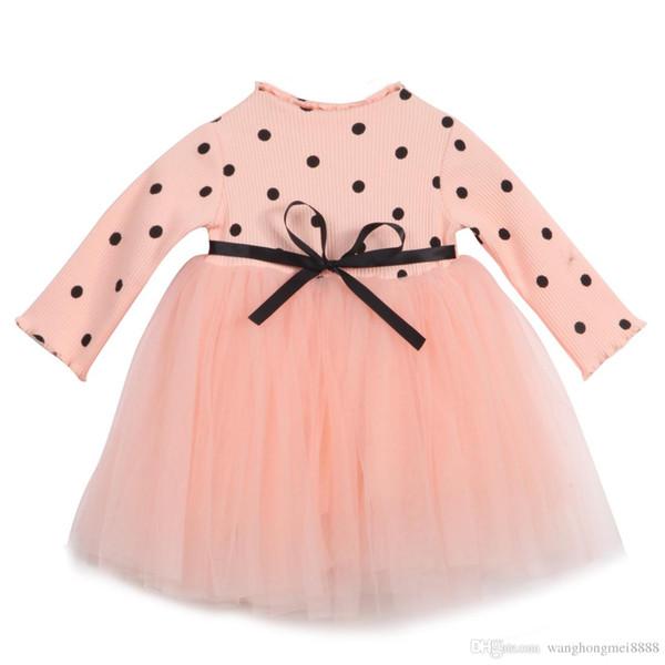 Neonati svegli Babys Ragazze Vestiti Maniche lunghe Knit O-Collo Cotone Fasce Dot Lace Tulle Tutu Dress Baby Baby Girl Clothes