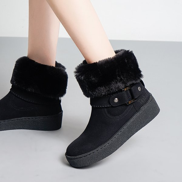 2018 Casual Shoes Women Fashion Brand Snow Boots with Fur Lady chaussure Winter New Female footware Mid Calf All Match