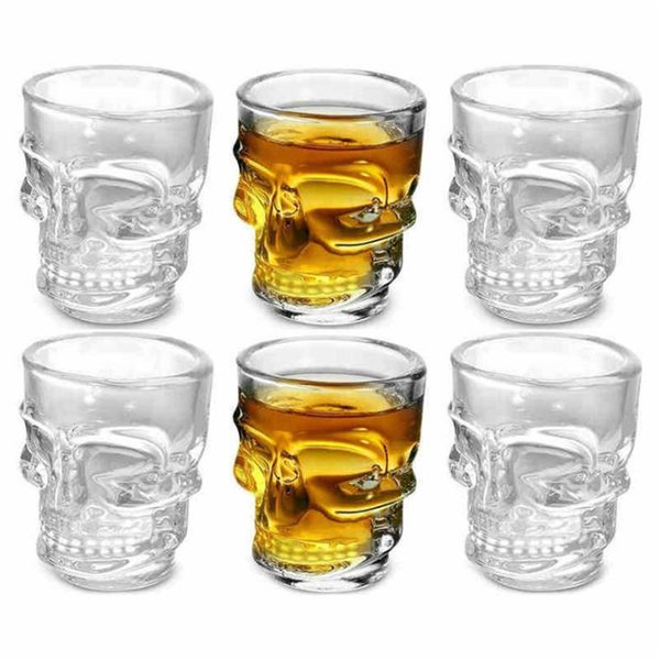 New style Creative Crystal Skull Head Wine Cups Skeleton Pirate Beer Glass Mug transparent Glass Drinking Cup party Small gift T9I00117