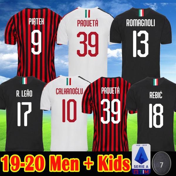19 20 maillots de football AC milan PIATEK PAQUETA ROMAGNOL Maillot de foot 2019 2020 Kits CALDARA CUTRONE CALHANOGLU Hommes Uniformes Enfants Maillots
