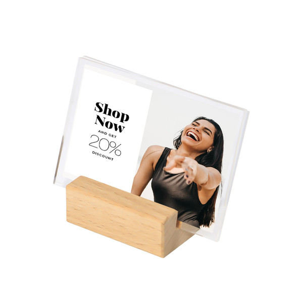 100*70mm Acrylic Sign Stand Paper Tag Card Display Wooden Sign Display Wood Table Name Card Holder Stand Price Tag Display Rack