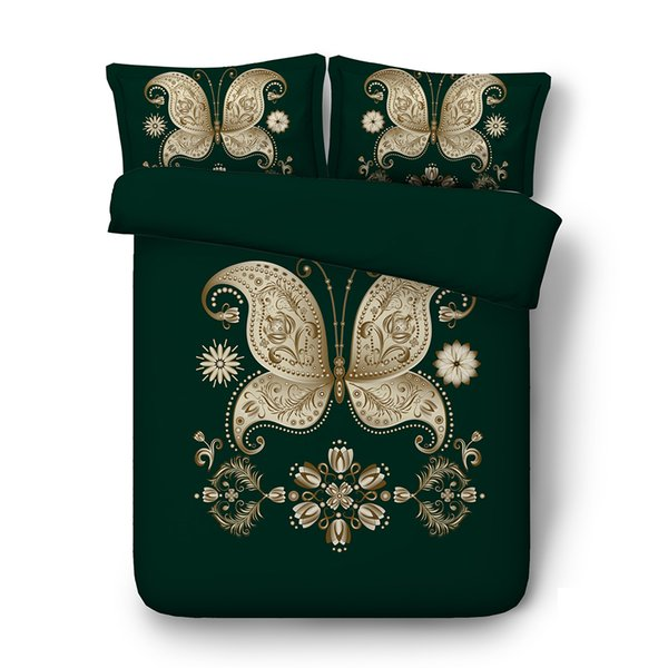 Floral gold green Butterfly Duvet Cover Set Decorative 3 Piece Bedding Set With 2 Pillow Shams Super Soft Comforter Cover Without Comforter