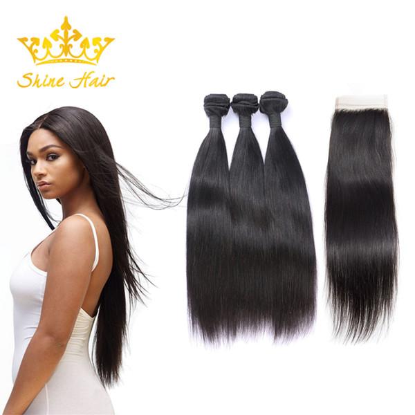 Shine Hair Brazilian Indian 1B 8-28 Inch Human Hair Weaves 3 Bundles With 4x4 Lace Closure Straight Natural Black Color Hair