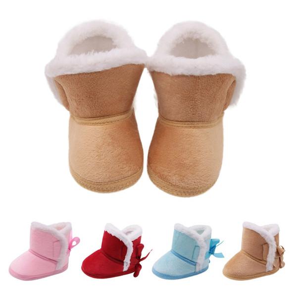Bottes princesse nouveau-né filles assez chaudes hiver premiers marcheurs chaussures de chaussures anti-slip bébé garçon fille