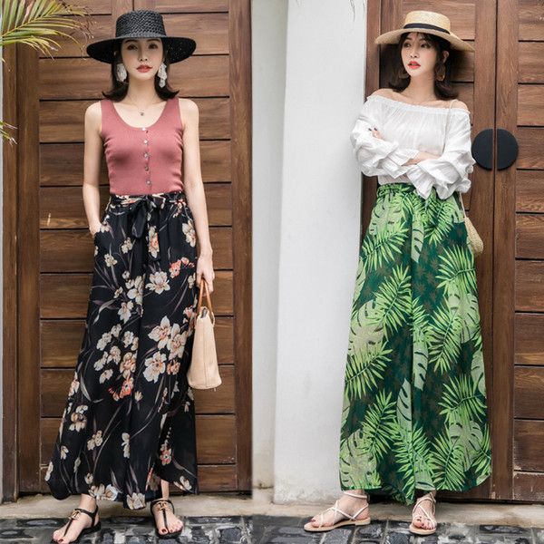 Yaz Kadın Yüksek Bel Şifon Geniş Bacak Etekler Gevşek Çiçek Bayanlar Casual Llong Etek Tatil Moda Dantel kadın Etekler