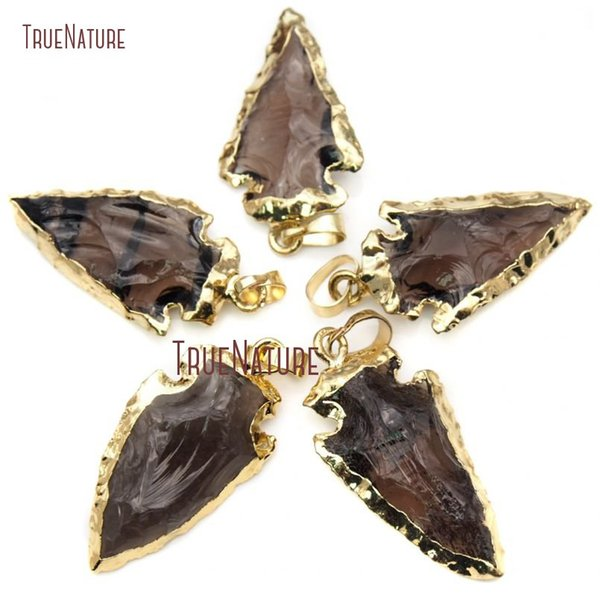Approx 40mm Smoky Quartzs Arrowhead Pendant with Electroplated 24k Gold Coffee Brown Crystal Arrow Pendant Charms PM15918