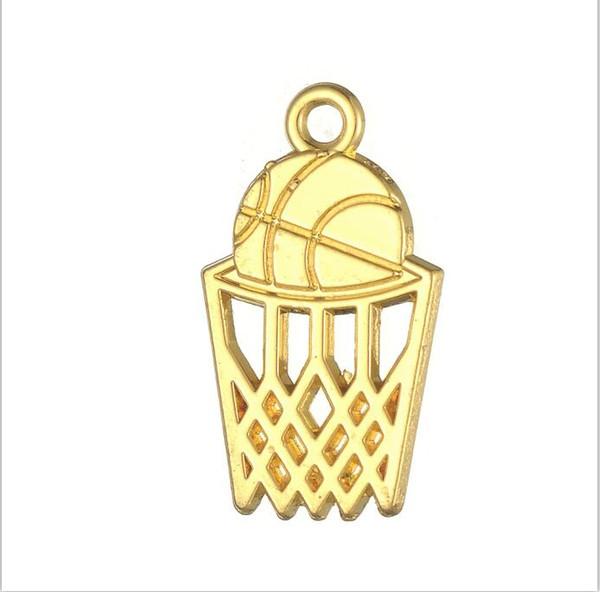 25mm Silver Yellow Plated Basketball Basket Pendant