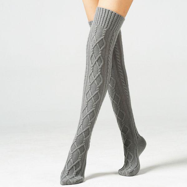 Knitted Long Socks Over Knee Foot Leg Warmers Sleeve Indoor Household Socks Wool Warm Knee Diamond Floor Socks Winter Warm